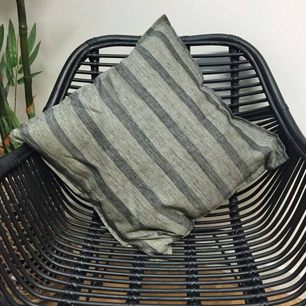 Grey Stripped Feather Cushion - The Farthing  - 1
