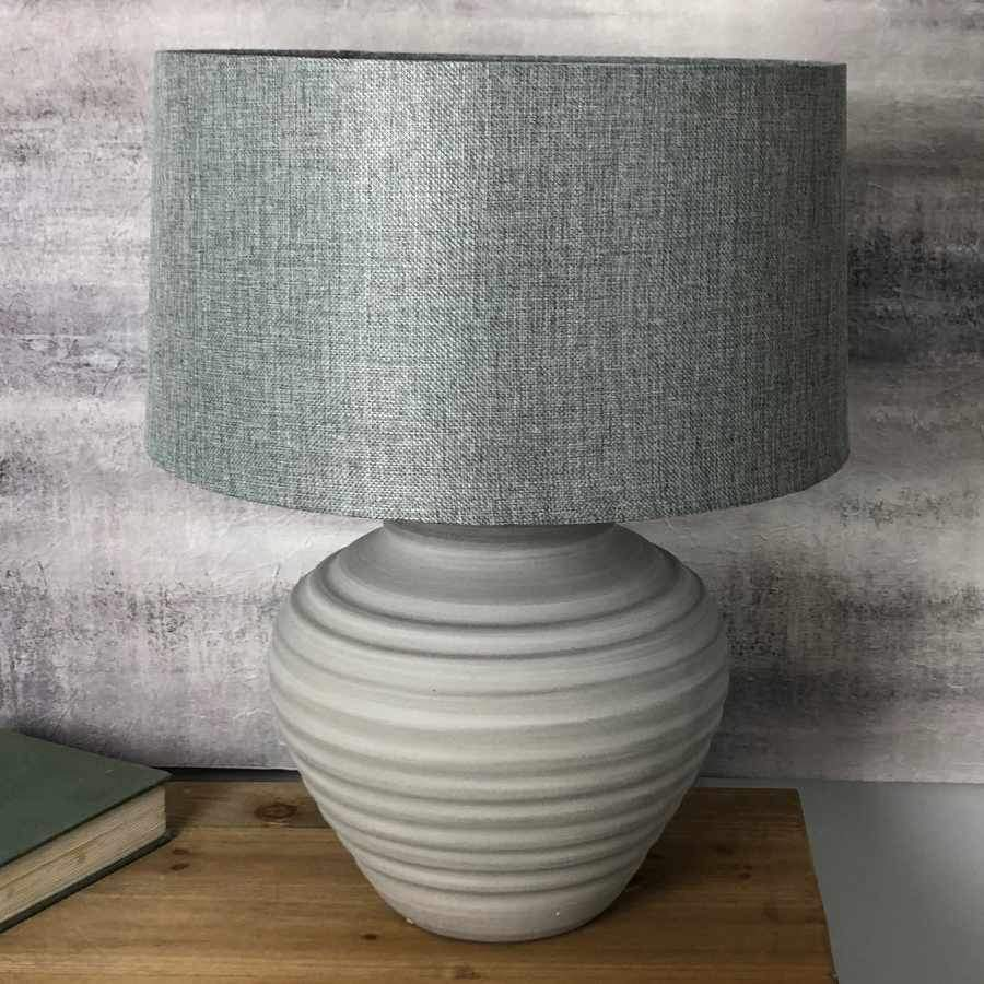 Grey Ribbed Table Lamp and Shade at the Farthing