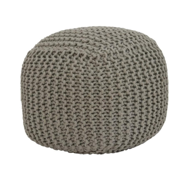 Grey Jute Cube Pouffe at the Farthing