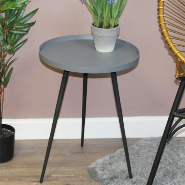Grey Metal Side Table at the Farthing 2