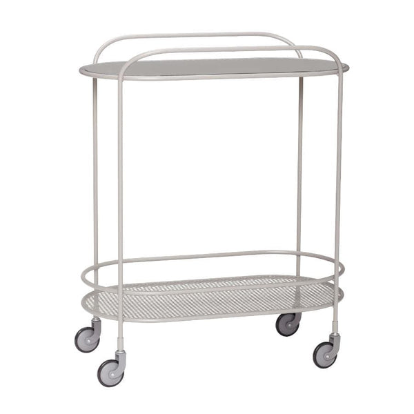 Grey Metal Trolley Table with Glass Top | The Farthing