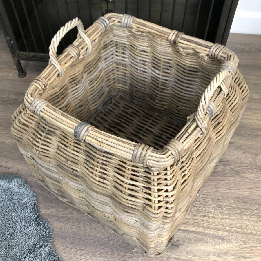 Grey Rattan Storage Basket at the Farthing
