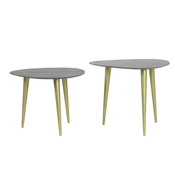 Grey Washed Wood Topped Nestling Table Set | The Farthing