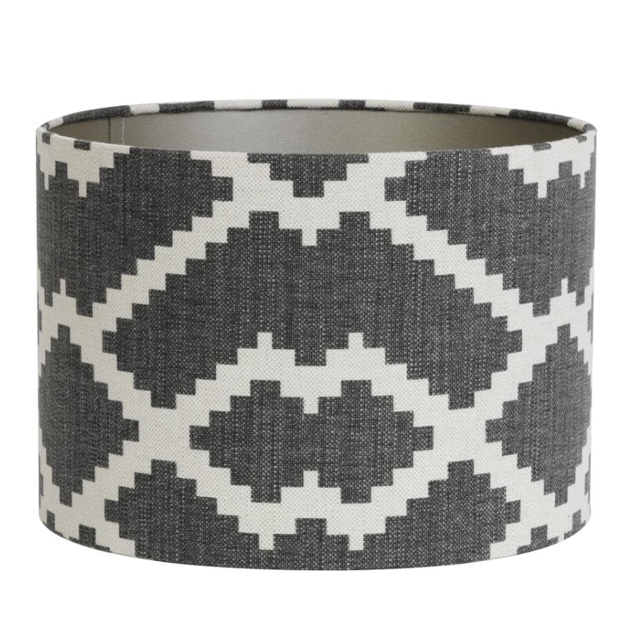 Grey and White Patterned Cylinder Lamp Shade | The Farthing
