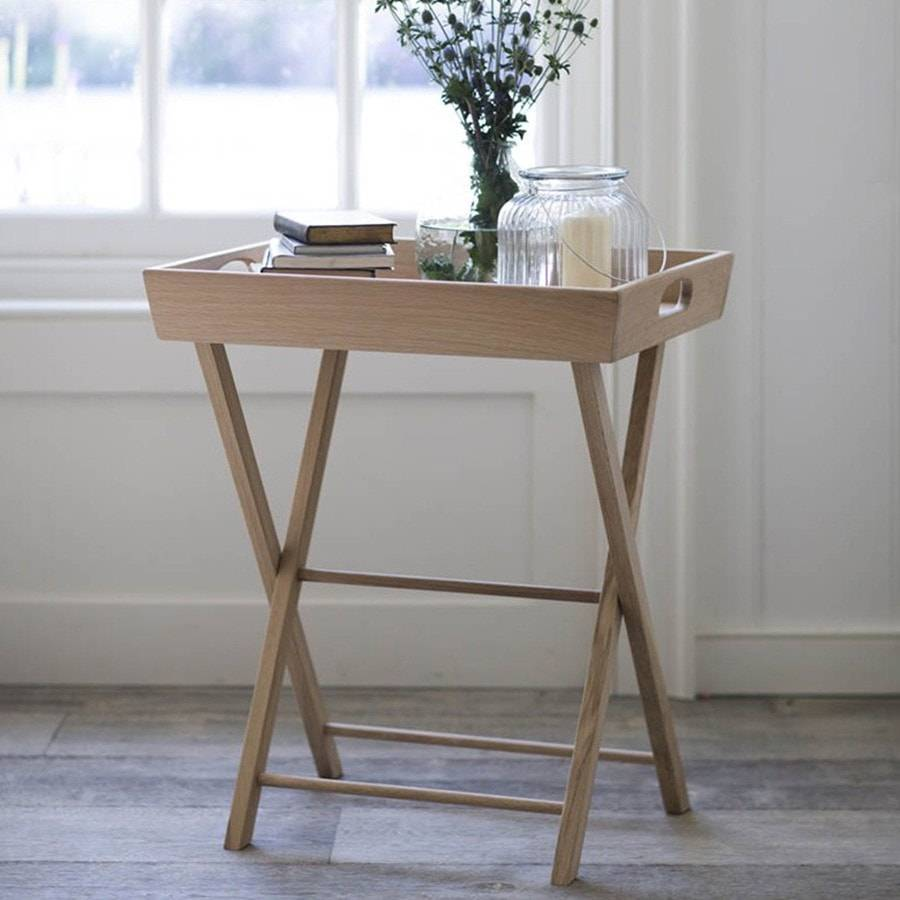 Stylish Raw Oak Hambledon Butlers Tray Table - The Farthing - 5