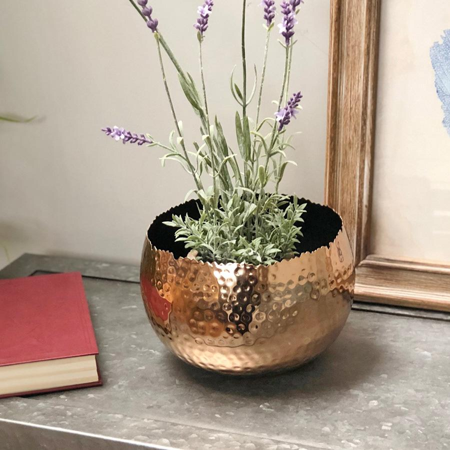 Hammered Copper Plant Pot / Bowl | Farthing ...