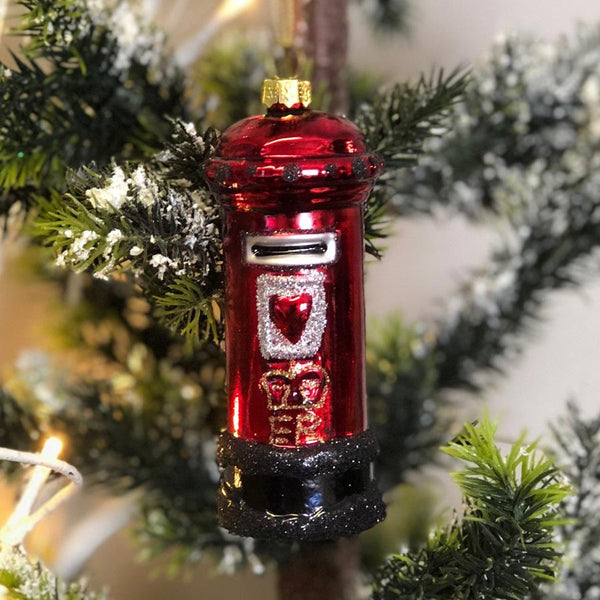 Hanging Red Christmas Post Box Bauble | Farthing