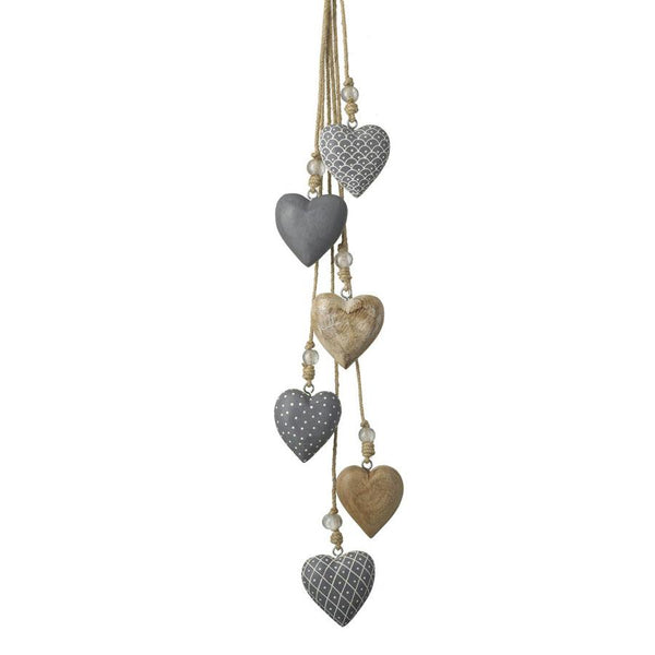 Hanging Wooden Hearts - Grey & Natural
