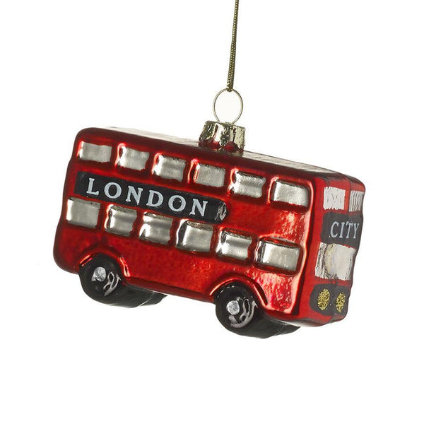 Hanging Red London City Bus Bauble at the Farthing