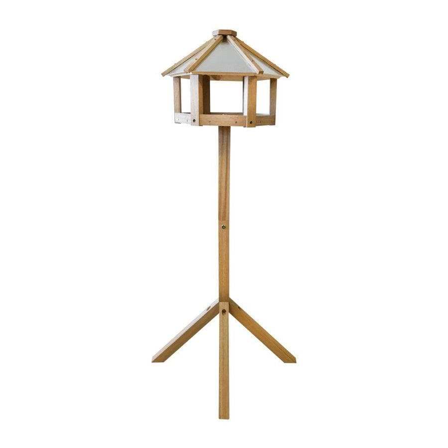 Hexagonal Roof Oak Standing Bird Table at the Farthing