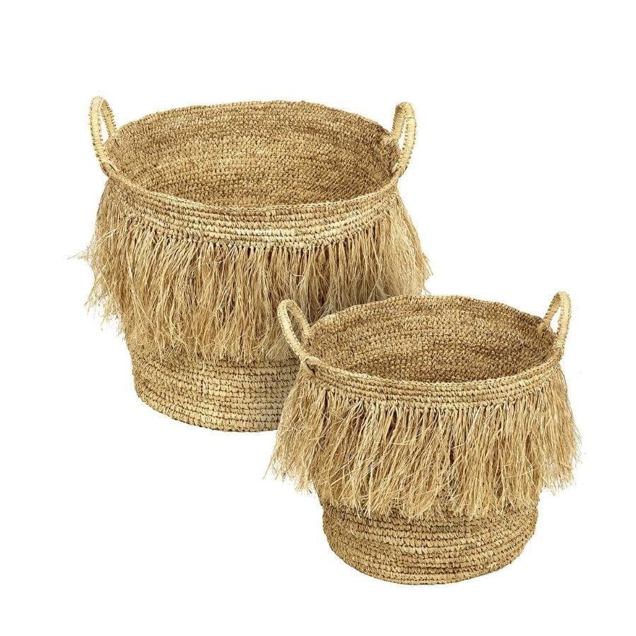 Hula Natural Fringed Basket Set at the Farthing