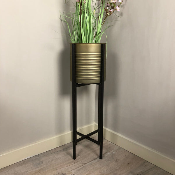 Industrial Bronze Metal Plant Pot - On Stand 2