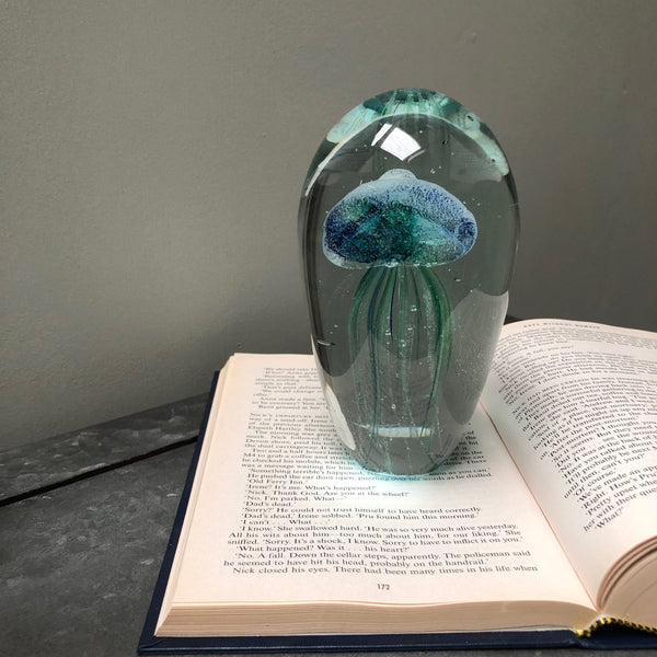 Large Blown Glass Blue Jellyfish Paperweight | The Farthing 1