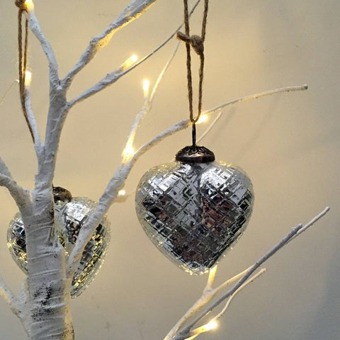 Ice Silver Christmas Heart Baubles - The Farthing