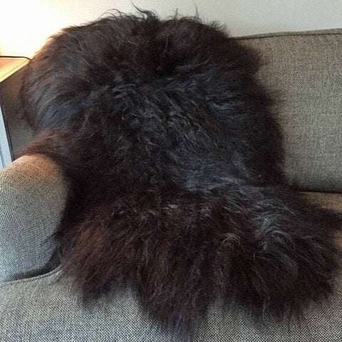 Icelandic Long Hair Sheepskin Rug in Natural Black Brown - The Farthing