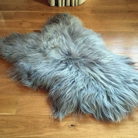 Icelandic Long Hair Sheepskin Rug in Special Grey - The Farthing