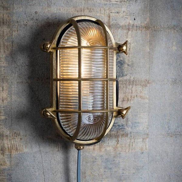 Industrial Bulk Head Light - Brass - The Farthing