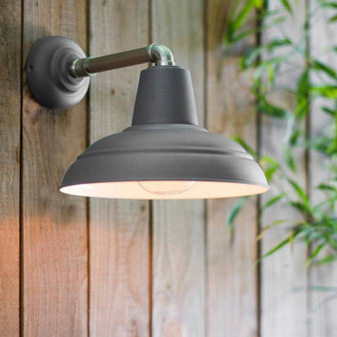 Industrial Exterior Metal Wall Light In Charcoal   The Farthing