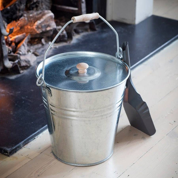 Industrial Fireside Bucket with Lid in Galvanised Steel - The Farthing  - 1