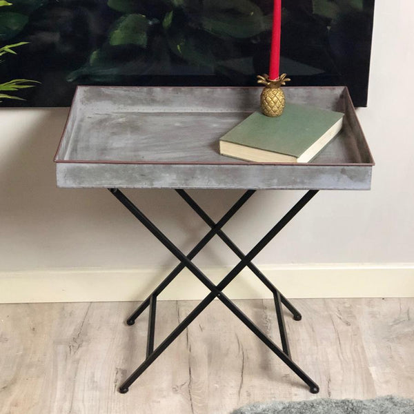 Industrial Galvanised Metal Tray Table The Farthing