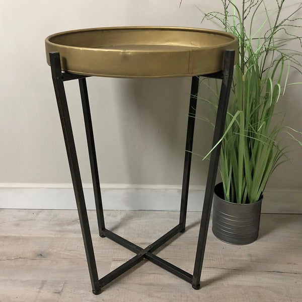 Industrial Gold & Black Side Table at the Farthing