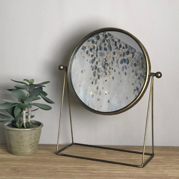 Industrial Golden Table Mirror | Farthing