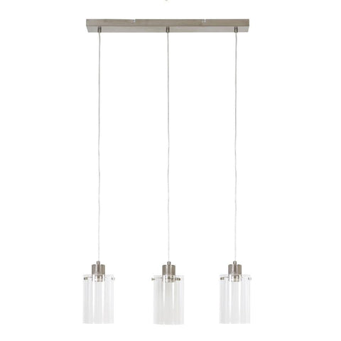 Industrial Metal & Glass Trio Pendant Light | The Farthing
