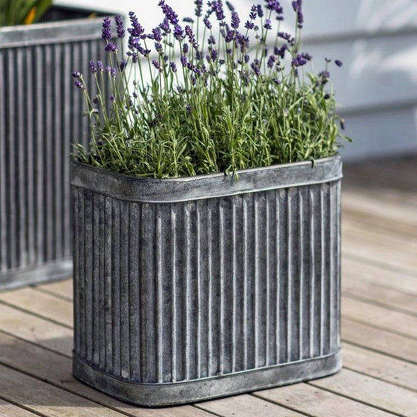 Industrial Metal Fluted Rectangular Box Planter The