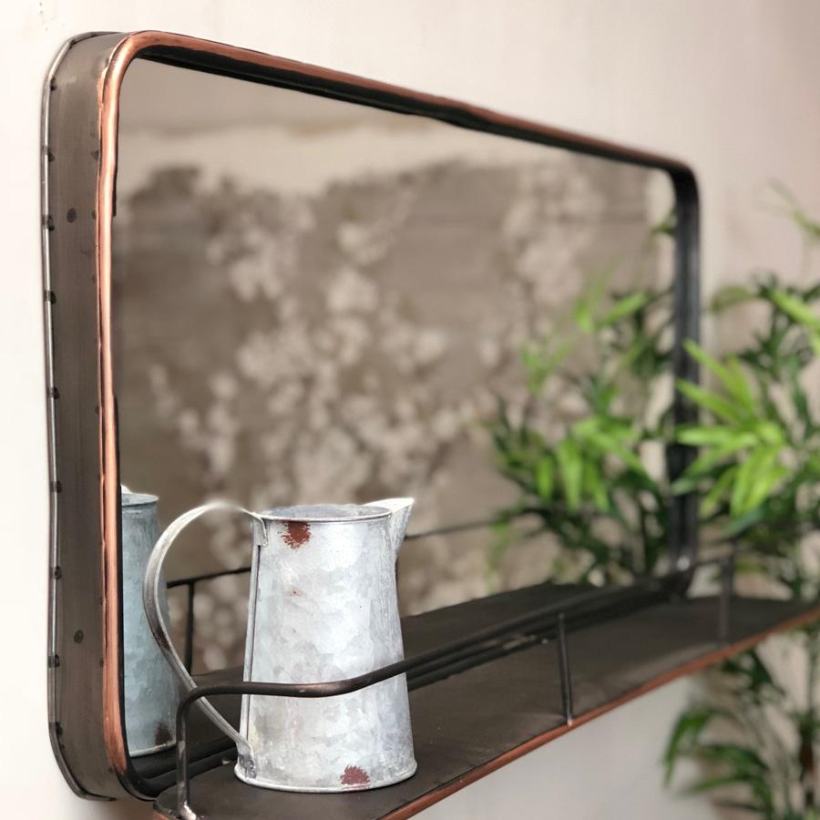 Industrial Metal Wall Mirror Shelf - Copper finish - The Farthing 2