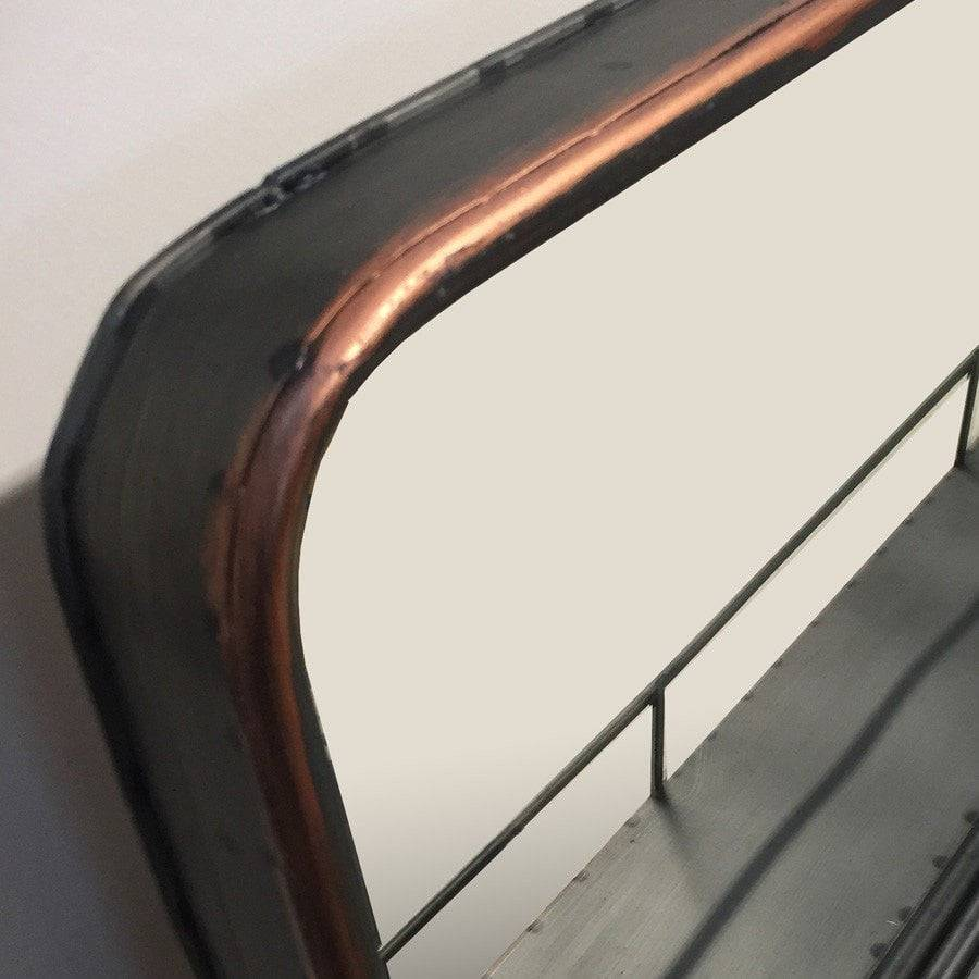 Rustic industrial copper metal wall mirror shelf shabby chic industrial metal wall mirror shelf copper finish the farthing amipublicfo Image collections
