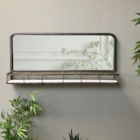 Industrial Metal Wall Mirror Shelf with Mesh | Farthing