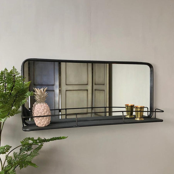 Industrial Metal Wall Mirror Shelf | Farthing
