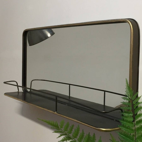 Industrial Metal Wall Mirror Shelf - The Farthing