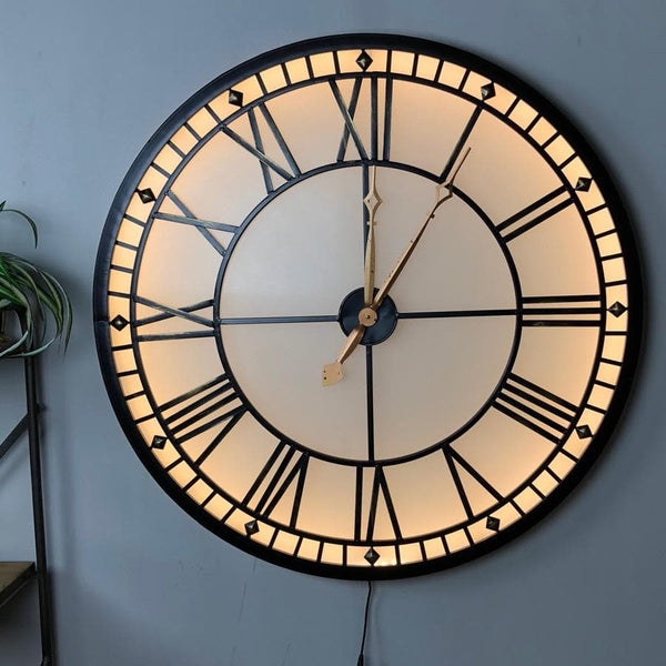 Industrial Oversized Light Up Black Skeleton Clock | Farthing