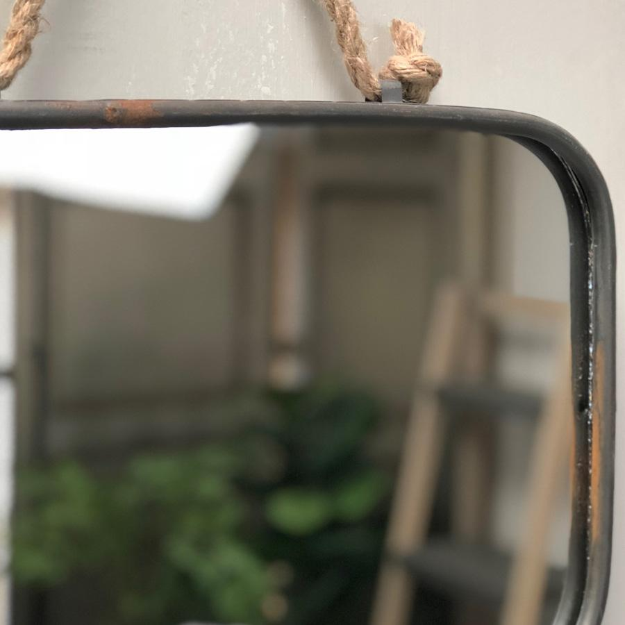 Industrial Rectangular Hanging Rope Mirror | The Farthing