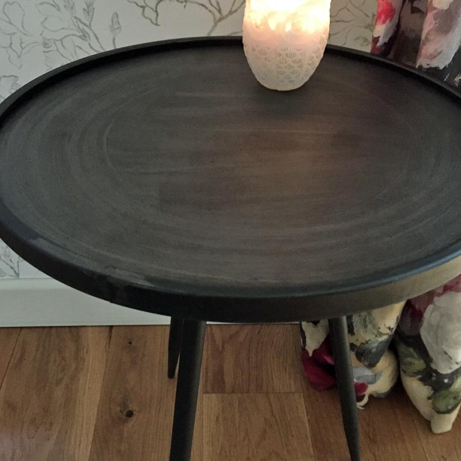 Industrial Round Lipped Side Table at the Farthing 4