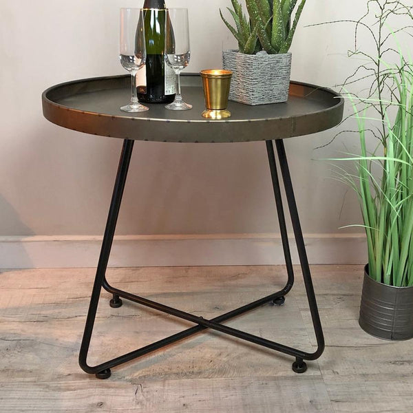Industrial Round Zinc Side Table | Farthing
