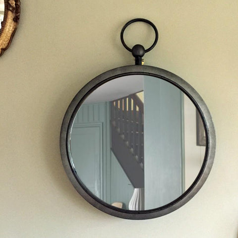 Industrial Round Zinc Wall Mirror at the Farthing