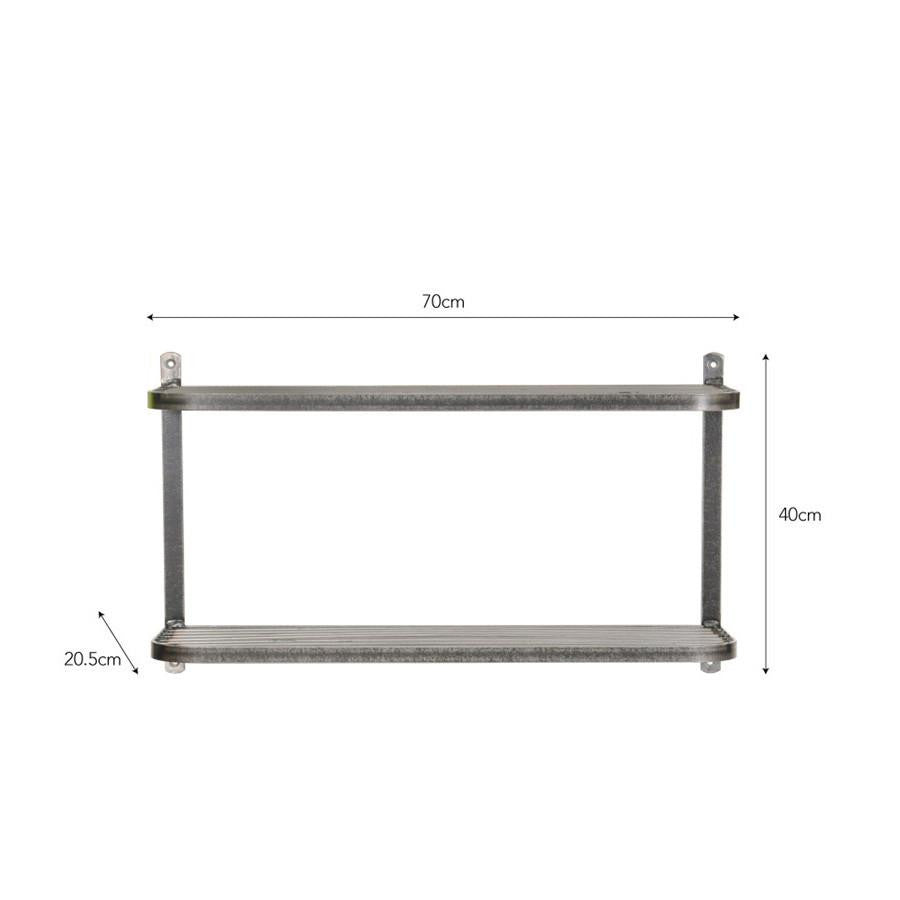Industrial Steel Double Wall Shelf - The Farthing