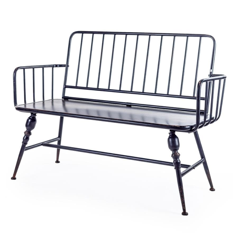 Industrial-Style Black Metal Two Seater Bench at the Farthing