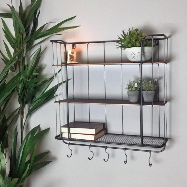 Industrial Wall Shelf With Hooks - Large