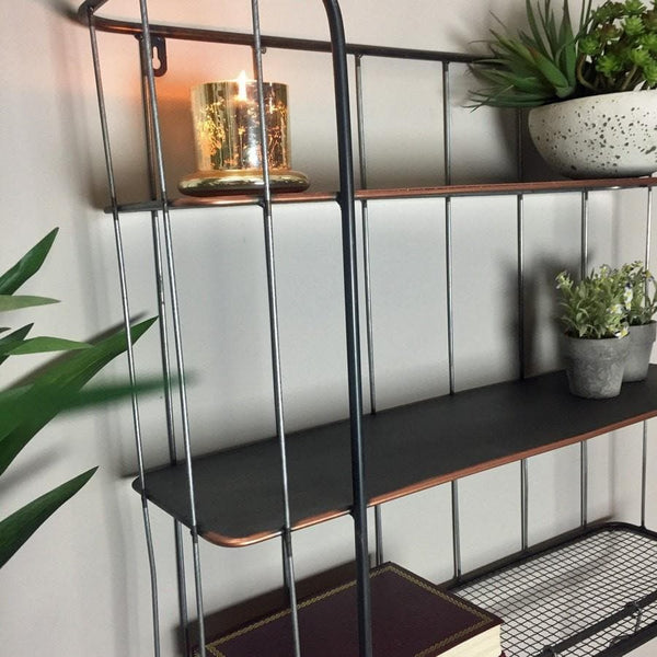 Industrial Wall Shelf With Hooks Large Vintage Wire