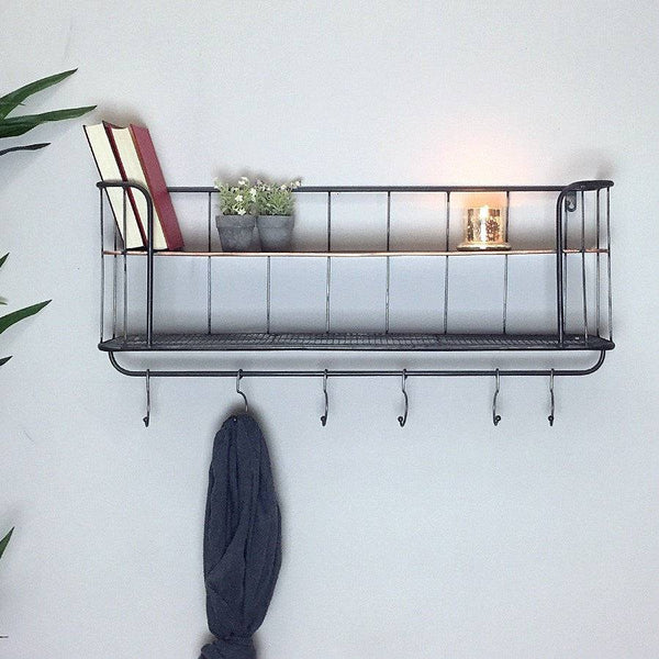 Industrial Wall Shelf with Hooks at the Farthing