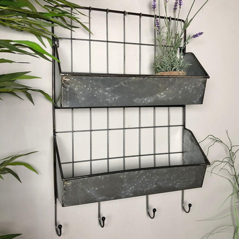 Industrial Wall Shelf with four Hooks | Farthing