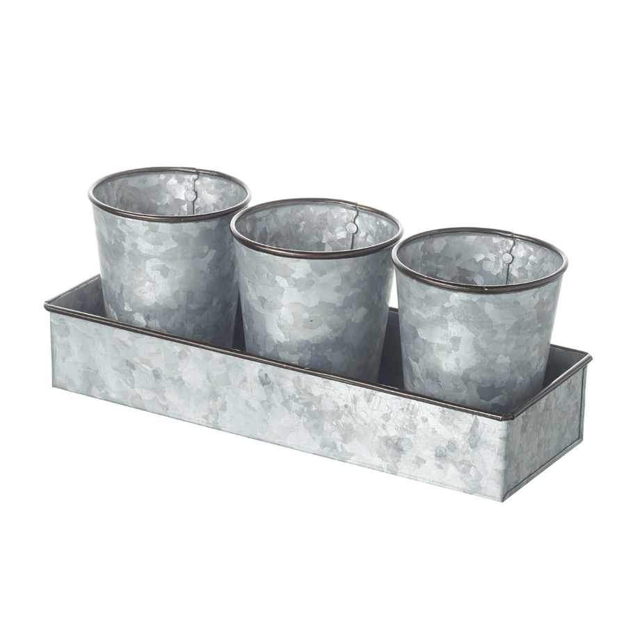 Industrial Metal Plant Pots on Tray
