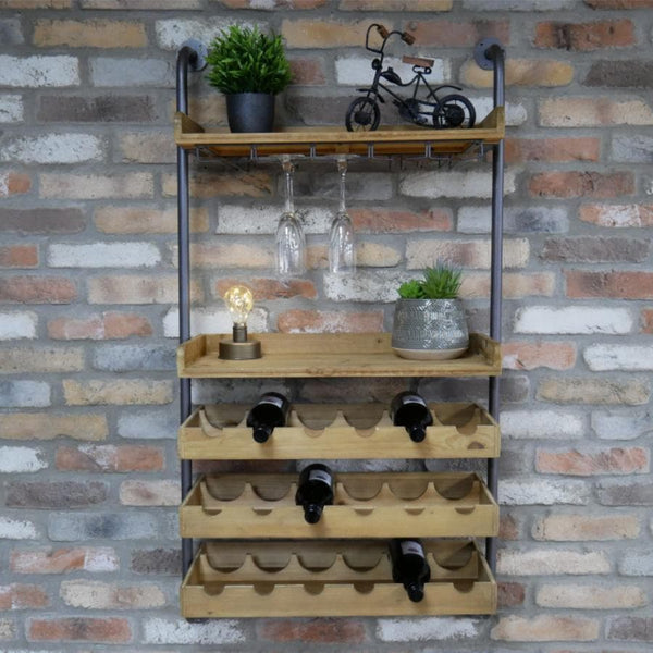 Industrial Wall Mounted Wine Bottle Shelf at the Farthing