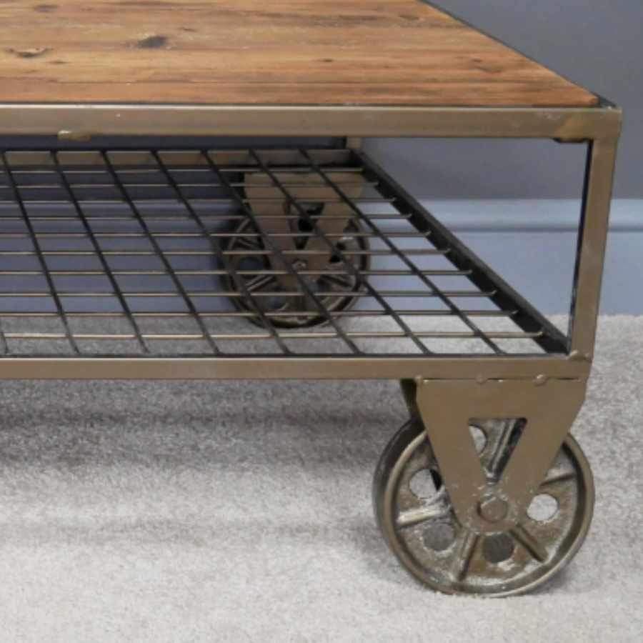 Industrial Wheeled Wood and Metal Coffee Table