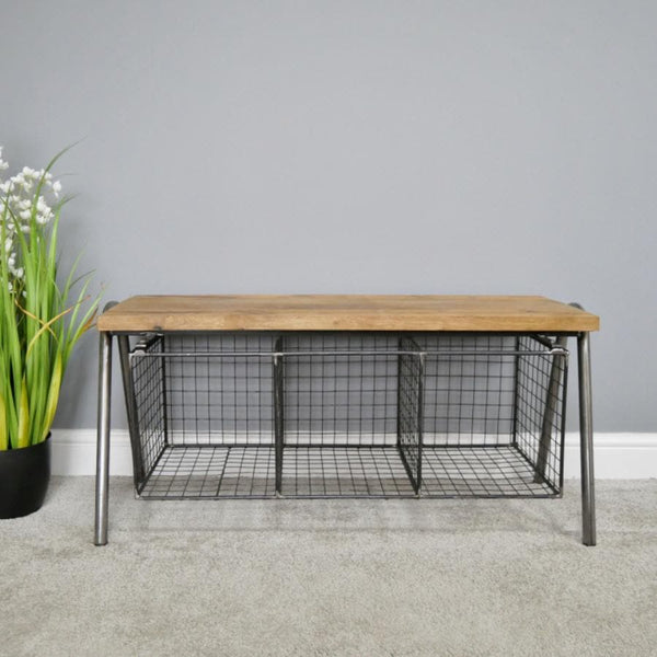 Industrial Basket Storage Bench at the Farthing