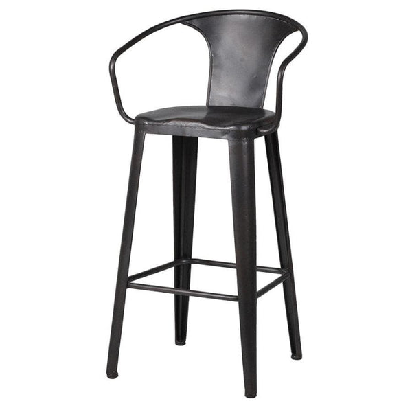 Industrial metal bar stool with arms at the Farthing