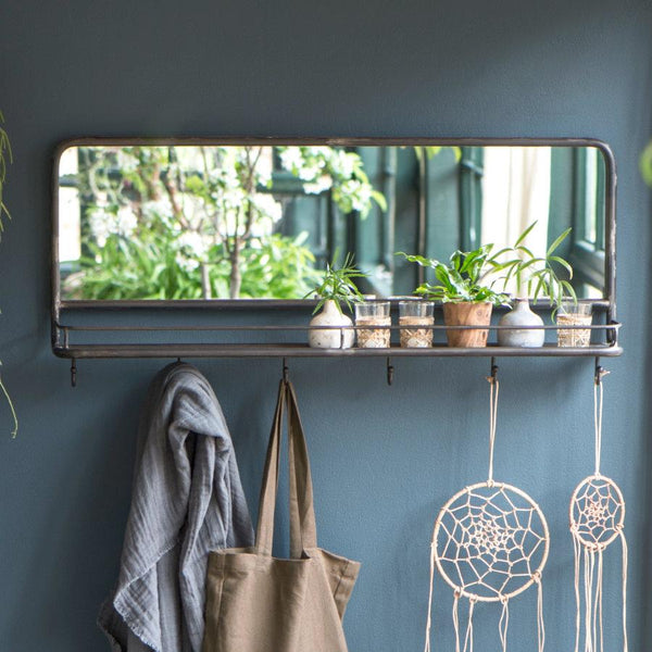 Industrial Metal Wall Mirror Shelf - with hooks | The farthing